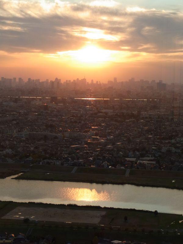 展望施設から見た夕日